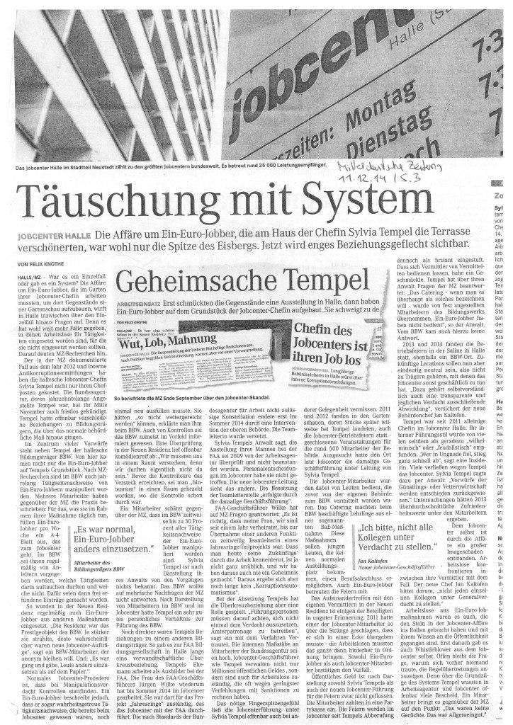 MZ-Bericht vom 11.12.14 über das Jobcenter-Halle