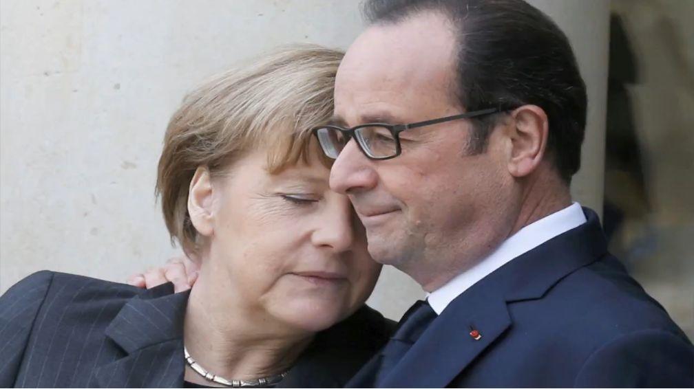 Kanzlerin Angelika Merkel (CDU) und der sozialistische Staatspräsident François Hollande in Paris. Quelle: fokus.de