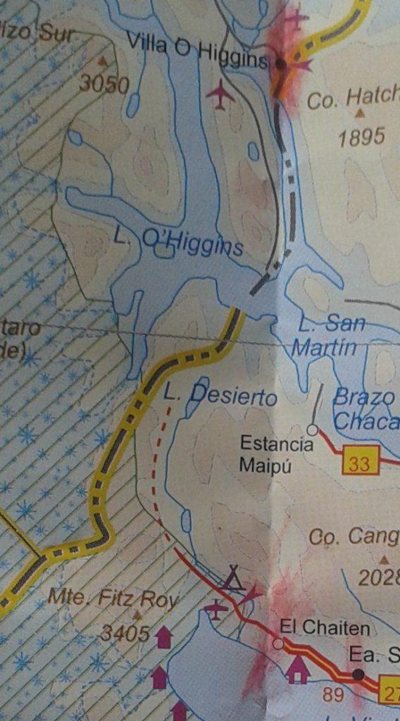 Mapa-sendero O´Higgens-El Chaltén