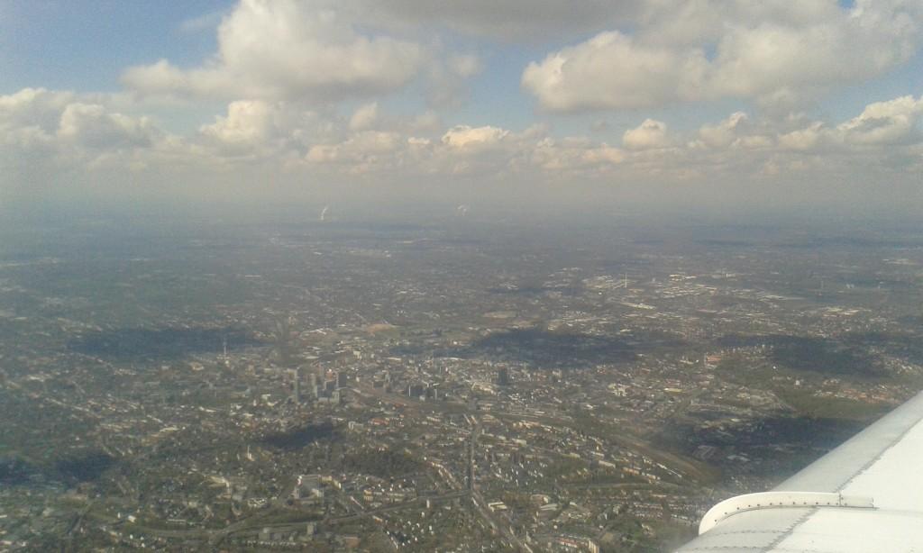 Anflug auf den Flughafen Düsseldorf